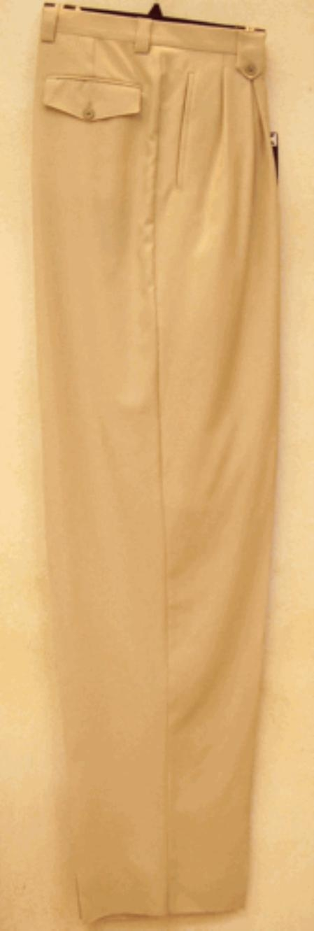SKU#WD331 long rise big leg slacks Beige Wide Leg Dress Pants Pleated baggy dress trousers
