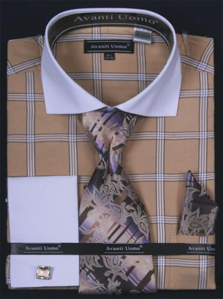 Buy HQ382 Men's French Cuff Dress Shirt Set White Collar Two Toned Contrast Large Windowpane Beige Plaid ~ Windowpane
