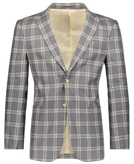 Beige/Gray Slim Fit Plaid ~ Windowpane ~ Checker Men's Blazer