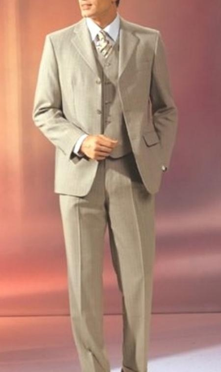 SKU# BJ09 Beige Vested 3 Pieaces Super 120s Wool three piece suit