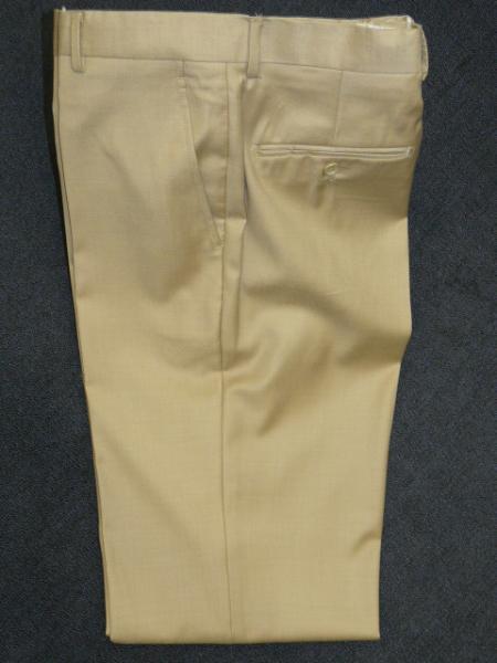 BEIGE 100% WOOL , SUPER 140S Solid ~ plain FRONT PANTS
