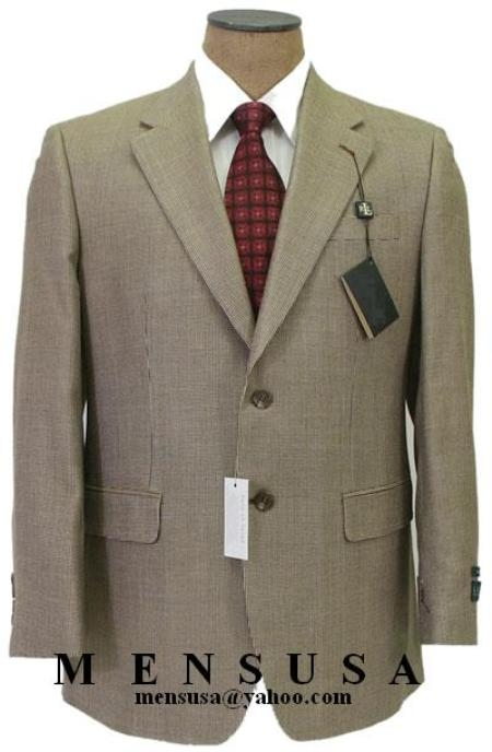 SKU# KSS293 Beige With Conservative Sharskin Pattern 2 Button 100% Super Fine Wool Suits $175