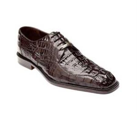 Brown Dress Shoe Authentic Genuine Skin Italian Chapo - Brown caiman ~ World Best Alligator ~ Gator Skin