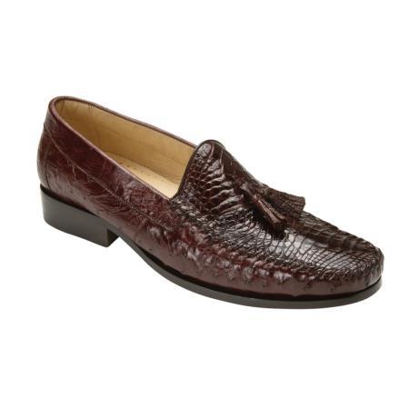 Belvedere Bari Caimain & Ostrich Tassel loafer slip on Mens shoe Brown