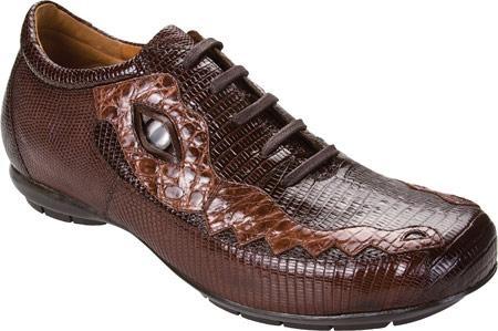 SKU#ND324 High Top Exotic Skin Sneakers for Men Belvedere Corona - Dark Brown/Brown Lizard Sneaker