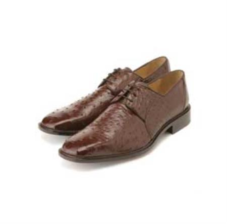Belvedere Mens Brown Genuine Ostrich