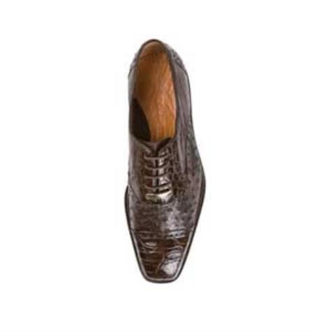 Belvedere Mens Brown Genuine Ostrich & Crocodile ~ World Best Alligator ~ Gator Skin