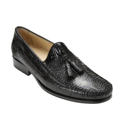 Buy PN74 Belvedere Bari Caimain & Ostrich Tassel loafer slip Mens shoe Black