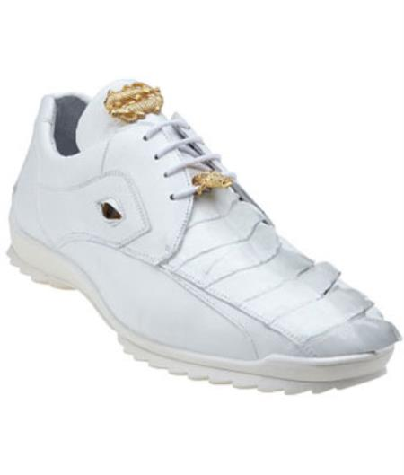 Mensbelvedere Tennis Sneaker Shoes Vasco Hornback & Calfskin Sneakers White