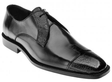 """Pisa"" Black Genuine Ostrich"