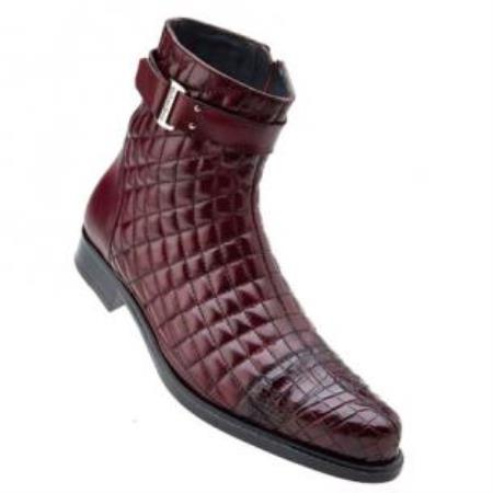 Belvedere Libero Quilted Leather & World Best Alligator ~ Gator Skin Cap Toe Boots Antique Wine
