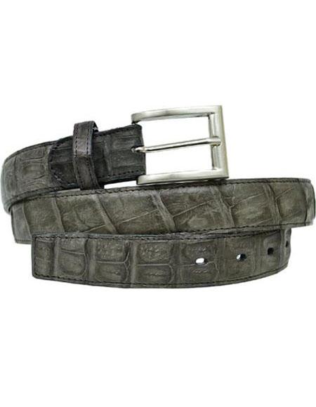 Authentic Genuine Skin Italian Grey All-Over Genuine Hornback Crocodile ~ World Best Alligator ~ Gator Skin Belt
