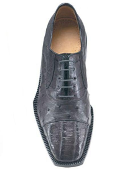 Authentic Genuine Skin Italian Cap toe Lace UP Oxford Style Grey