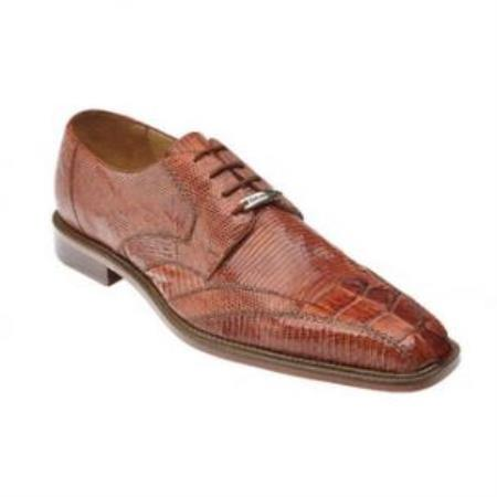 Buy SS-415 Belvedere Topo Hornback & Lizard Shoes Cognac