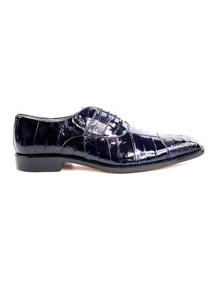 Mens Authentic Genuine Skin Italian Lace Up Navy Fashionable Dress Shoes