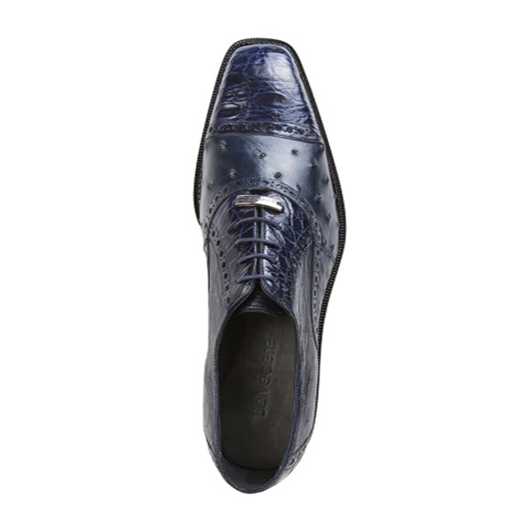 Authentic Genuine Skin Italian Cap toe Lace UP Oxford Style II Ostrich/Crocodile Shoes Navy