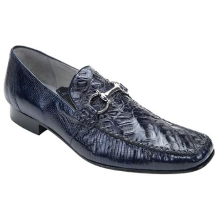Belvedere Mens Navy Genuine Crocodile ~ World Best Alligator ~ Gator Skin & Lizard