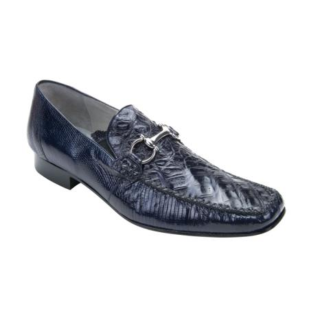 Buy PN-4K Belvedere Italo Crocodile ~ Alligator & Lizard Bit loafer slip Mens shoe Navy