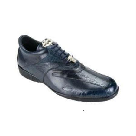 Authentic Genuine Skin Italian Bene Ostrich & Calfskin Dress Sneaker Navy