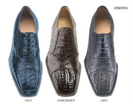 Belvederi Onesto Genuine Crocodile ~ Alligator and Ostrich * Squared-toe in a oxford classic lace t