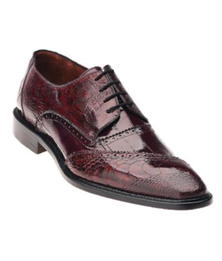 Mens Authentic Genuine Skin Italian Nino Eel & Ostrich Dress Shoes Antique Red/Scarlet
