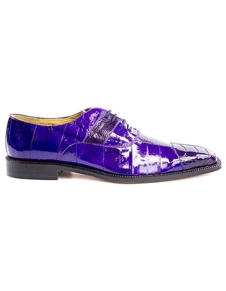 Mens Belvedere Lace Up Purple Fashionable Dress Shoes