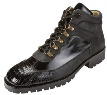 "SKU#HQ4010 Belvedere Black ""Capri K17"" Genuine Crocodile With Lug Rubber Sole Boots $219"