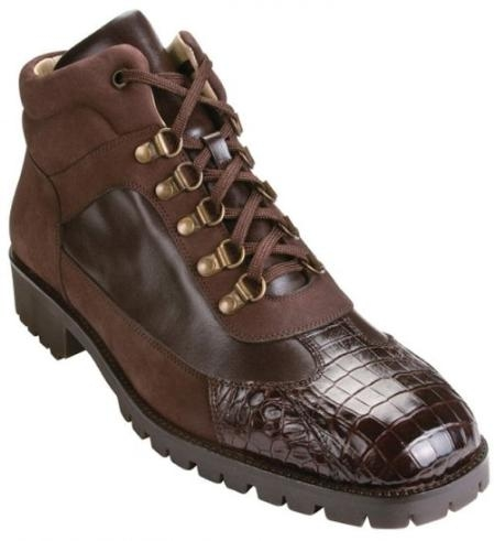 "SKU#LX3033 Belvedere Brown ""Capri K17"" Genuine Crocodile With Lug Rubber Sole Boots $219"