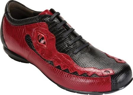 SKU#MZ018  High Top Exotic Skin Sneakers for Men Belvedere Corona - Black/Red Lizard Sneaker $282