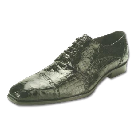 SKU#KJ236 Belvedere Lupo Genuine Caiman Belly Shoes Black $374