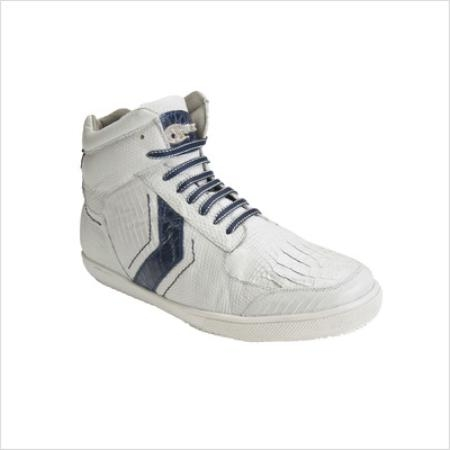 SKU#GA8988 Belvedere Mens Guido Sneaker in White / Navy $269