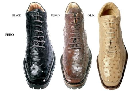 "SKU#XP9002 Belvedere ""Pero"" All-Over Genuine Ostrich Ankle Boots $319"
