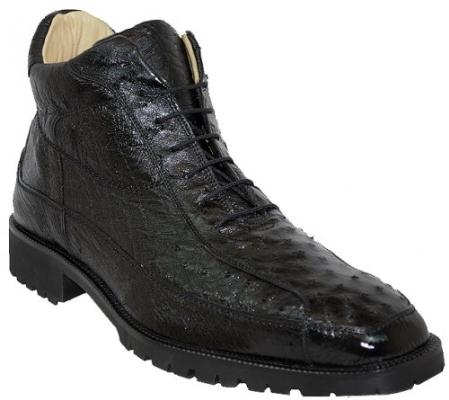 "SKU#GP7954 Belvedere ""Pero"" Black All-Over Genuine Ostrich Ankle Boots $319"