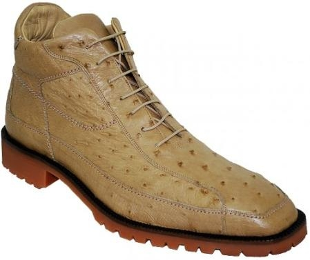 "SKU#BQ3451 Belvedere ""Pero"" Orix All-Over Genuine Ostrich Ankle Boots $319"
