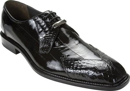 SKU#XT834 Belvedere Prato - Black Crocodile ~ Alligator /Eel $322