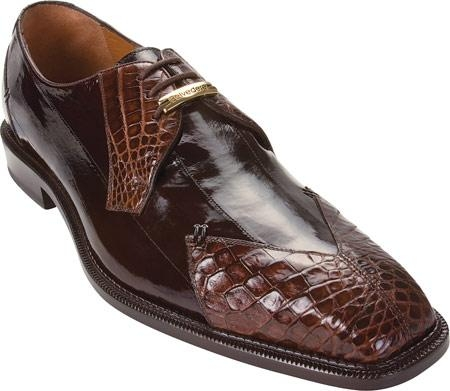 SKU#BX738 Belvedere Prato - Brown Crocodile/Eel