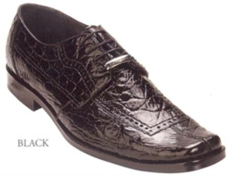 SKU#LH372 Belvedere Sole All-Over Genuine Crocodile Flanks Shoes $439