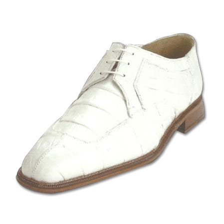 SKU#JP123 Belvedere Susa Genuine Crocodile & Ostrich Shoes White $349