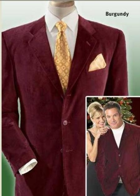 SKU#MUZ833GA Bergundy mens three button velour blazer/Jacket ~ Sport Coat SUEDE Casual and Comfort