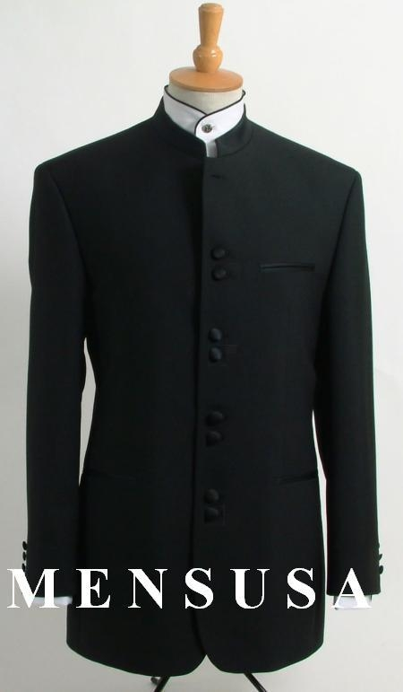 SKU# OLU548 Best Quality Black Mandarin Collar Tuxedo Suit Light Weight Soft Fabric $229