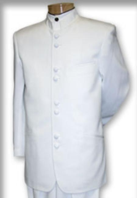 MensUSA.com Best Quality Mandarin Collar White Mandarin Suit (Exchange only policy) at Sears.com