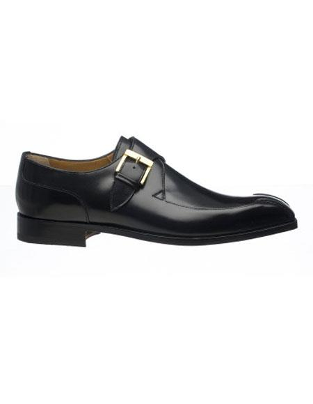 Ferrini Men's Black Bicycle Toe French Calfskin Tone Monk Strap Shoes - Men's Buckle Dress Shoes