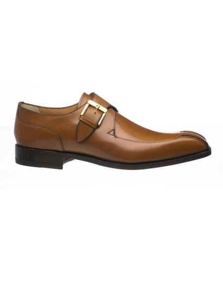 Brown French Calfskin Gold Tone Monk Strap Shoes