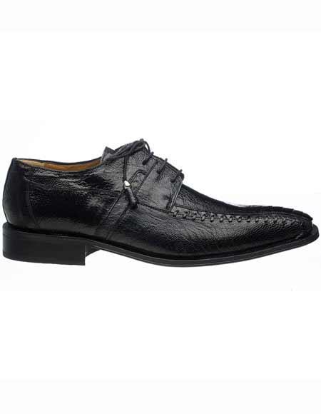 Ferrini Men's Black Ostrich Leg Skin Tasseled Laces Leather Sole Bicycle Toe Shoes