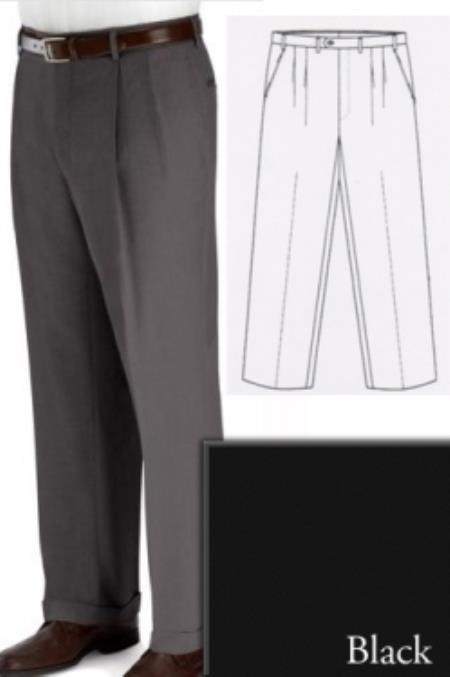 Big and Tall Dress Pants Slacks For Men Black unhemmed unfinished bottom