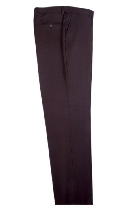Buy SM4709 Men's Tiglio Dress Slacks Modern Fit Wool Flat Front Birdseye Pattern Brown Pants