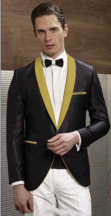 SS-7533 Black Gold Lapel Shawl Lapel Single Button Tuxedo Dinner Jacket Blazer Sport Coat