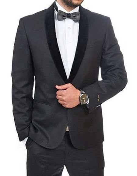 Men's Black  Slim Fit 1 Button Shawl Velvet Lapel Tuxedo Suit  Slim Fit Black Tuxedo - Skinny Fit Tuxedo