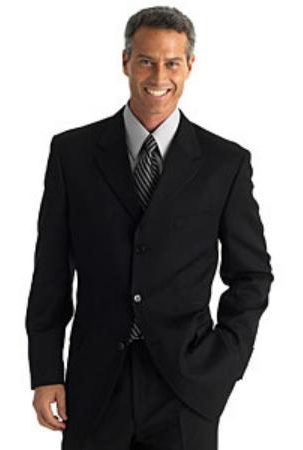 SKU# KQP237 Black %100 Soft New Generation 21 Centurry Niceest Cool Polyster/ Rayon  3-Button Suits $299