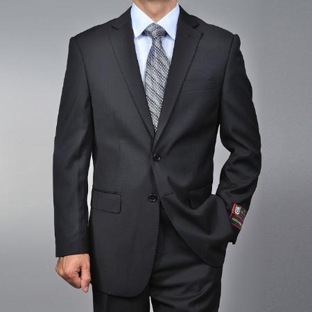 Mens Black 2-button Suit